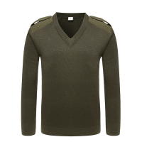 V-neck army olive green sweater for police (1)
