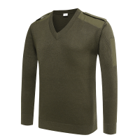 V-neck army olive green sweater for police (3)