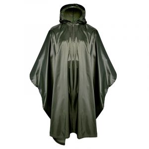 Military Poncho 190T Polyester Dark Green Poncho With PVC Coating PO01