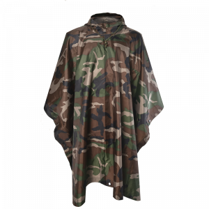 Military Camouflage Poncho 190T Polyester Woodland Camouflage Poncho Waterproof PVC Coating PO16