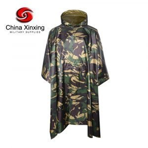Military Camouflage Poncho 190T Polyester African Woodland Camouflage Poncho With PVC Coating PO02