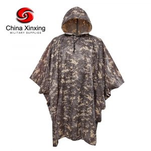 Military Camouflage Poncho 190T Polyester Digital Camouflage Poncho With PVC Coating PO06