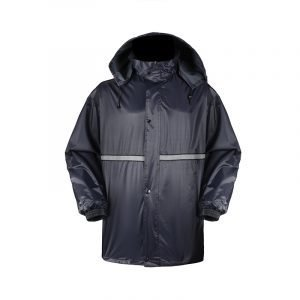 Police Poncho 190T Polyester Navy Blue Poncho Waterproof PVC Coating Reflective Tape PO20