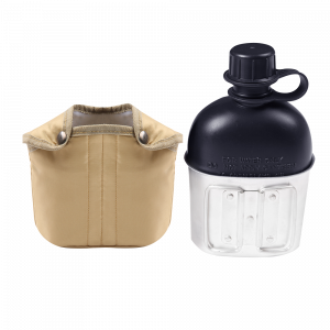 Military Canteen Water Bottle WB04 Plastic Water Canteen Reinforced Fabric Cover Belt Holster, Capacity 1.2 L Portable Water Bottles with Shoulder Strap (复制)
