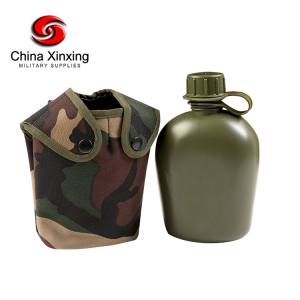 Military Canteen Water Bottle WB01 Plastic Water Canteen Reinforced Fabric Cover Belt Holster, Capacity 1.2 L Portable Water Bottles with Shoulder Strap