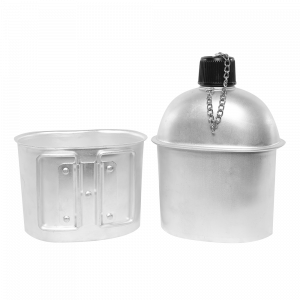 Military Canteen WB03 Aluminum 1QT Portable with 0.5QT Cup Army Camping Hiking Water Bottle Canteen Kit